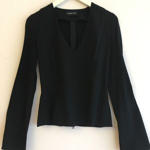 Patrizia Pepe Black Wool LS Blouse